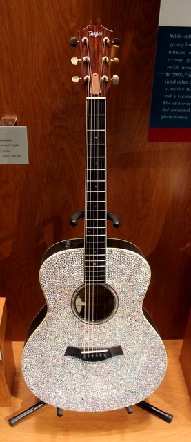 "Encrusted with Swarovski crystal rhinstones, this guitar is Taylor Swift's original ""sparkle"" guitar."