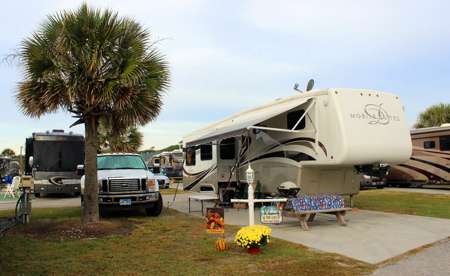 Our site at Ocean Lakes. Only 3 sites away from the beach.